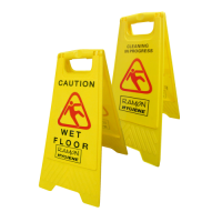 Dual Warning Caution Wet Floor/Cleaning in Progress A Frame Sign