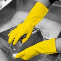 Shield Yellow Flocklined Rubber Gloves L - Pack 12 Pairs