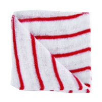 Striped Stockinette Cleaning Cloths - Red - Pack 10
